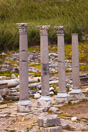 reconstructed: Reconstructed classic Corinthian columns at Perga in Turkey