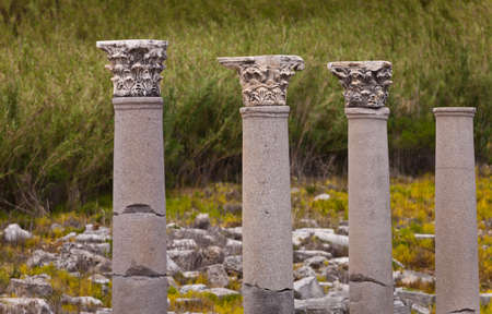 reconstructed: Classic Corinthian style columns at Perga in Turkey Stock Photo