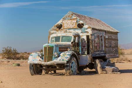 the salvation: CALIPATRIA, IMPERIAL COUNTY, CALIFORNIA, USA - NOVEMBER 28: Bible truck outsider art installation at Salvation Mountain on November 28, 2014 in at Calipatria, California, USA.
