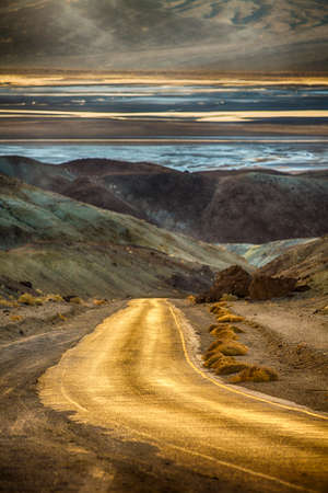 pallette: Artists Pallette Drive in Death Valley California USA at sunset
