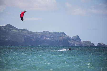 maui: Maui kite surfer from Kanaha Beach Park Stock Photo