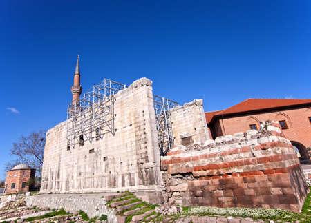 augustus: Temple of Augustus ruins in Ankara Turkey Stock Photo
