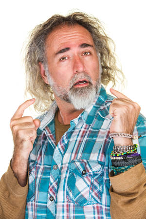 Isolated arrogant bearded man in flannel shirt Stok Fotoğraf