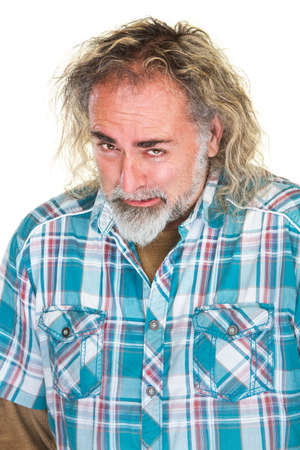 bummed: Disappointed Caucasian bearded man in flannel shirt