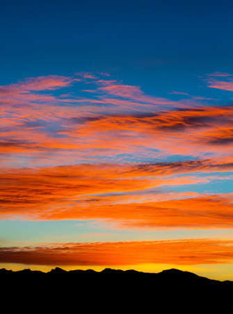 arizona sunset: Beautiful Arizona sunset and mountains on horizon