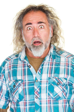 surprised man: Surprised mature man with beard and long hair