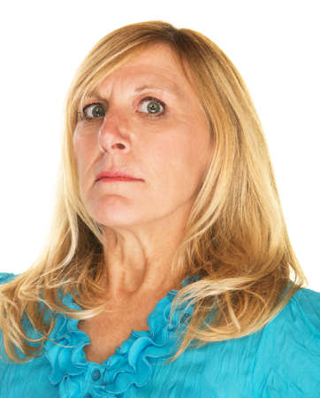 Strict blond Caucasian female looking down her nose