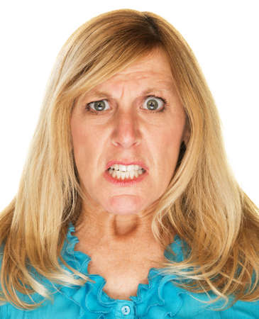 Single mad scowling blond female over white