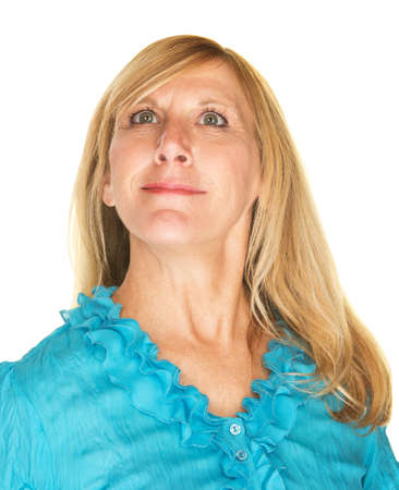 Beautiful middle aged Caucasian female over white background