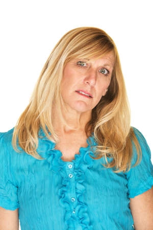 head tilted: Sad single female in blue with tilted head Stock Photo