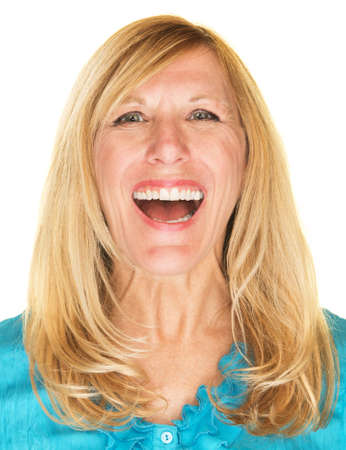 beautiful middle aged woman: Beautiful single middle aged woman in blue laughing