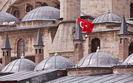 sufi: Turkish flag on exterior of Rumi Museum in Konya