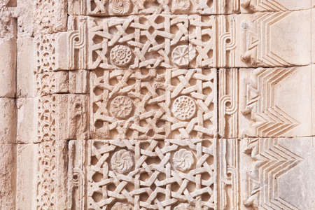 typical: Architectural close up of typical Turkish detail pattern on caravansary