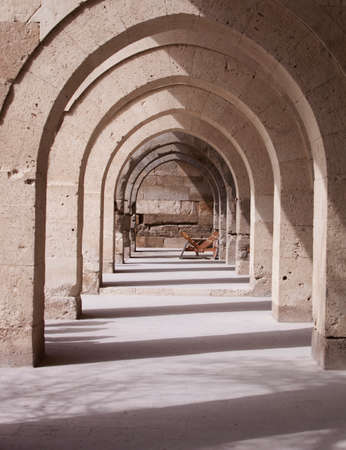stone arches: Architectural stone arches on building exterior in Turkey Stock Photo
