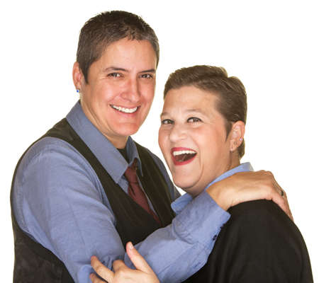 nude lesbian: Joking lesbian couple in blue shirts on isolated background