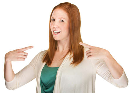 boasting: Young adult white female pointing fingers at herself Stock Photo