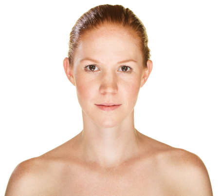 bare shoulders: Isolated sensual young Caucasian female with bare shoulders