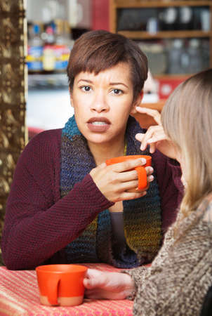 coffee house: Astonished woman with friend at coffee house indoors Stock Photo