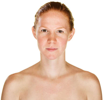 bare shoulders: Calm single red haired female with bare shoulders