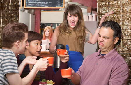 annoy: Screaming waitress with picky customers in coffee house