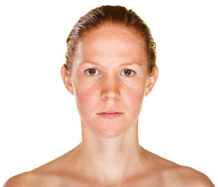 bare shoulders: Isolated female with bare shoulders staring ahead Stock Photo