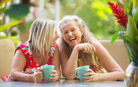 Pair of cute middle aged female friends laughing Stock Photo