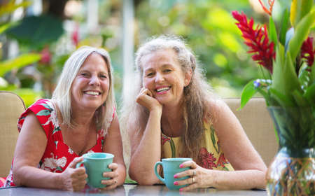 lesbienne: Belle paire de femmes matures assis à table