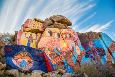 CHLORIDE, MOHAVE COUNTY, ARIZONA, USA - JANUARY 1: 1966 mural by artist Roy Purcell on January 1, 2015 near Chloride, Arizona, USA.