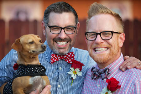 Outdoor marriage ceremony for male gay couple 写真素材