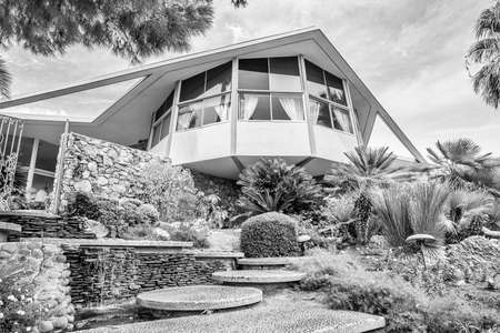 riverside county: PALM SPRINGS, RIVERSIDE COUNTY, CALIFORNIA, USA - SEPTEMBER 20:  Historic mid century home built by Robert Alexander, designated The House of Tomorrow and used by Elvis Presley and Priscilla Presley on their honeymoon in 1967, on September 20, 2015 in Pal