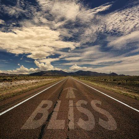 単語至福と矢で砂漠の道路の概念図 写真素材