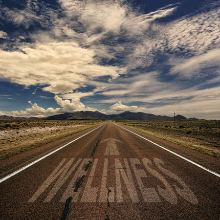 wholistic: Desert highway with the word wellness and arrow Stock Photo
