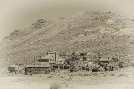 old mining building: Period style photo of Bodie California with grain added to mimic film Stock Photo