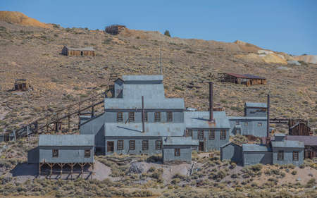 gold silver: An abandoned old west silver mine in the Sierra Nevada mountains Stock Photo
