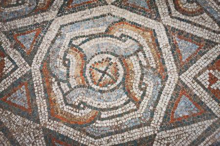 Mosaic pattern from floor near gymnasium at Sardis in Turkey