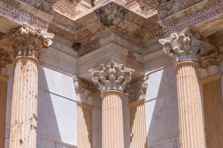 corinthian: Corinthian style columns supporting architectural headers at the gymnasium in Sardis Turkey