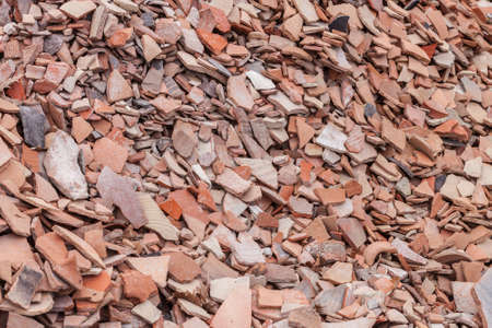 shards: Discarded pottery shards from archeological dig at Alexandrian Troas Stock Photo