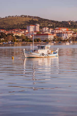 coastal: Small boat morred in front of Turkish coastal town of Ayvalik