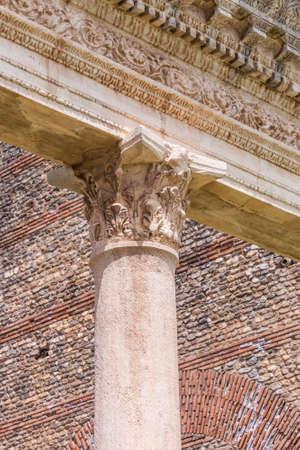 Stone Corinthian style column top at the gymnasium in Sardis Turkey