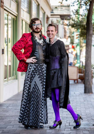 flamboyant: Handsome gender fluid young men in flamboyant drag