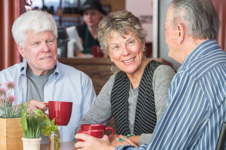 workers group: Mature trio of friends in a coffee house