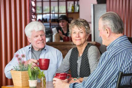 Tres amigos maduros en un café Foto de archivo