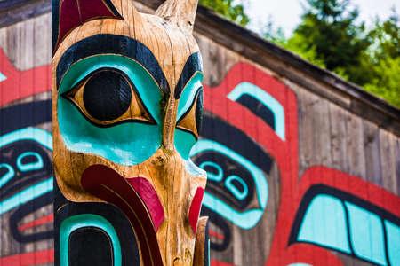 Moon Raven totem pole at Saxman Village near Ketchikan Alaska