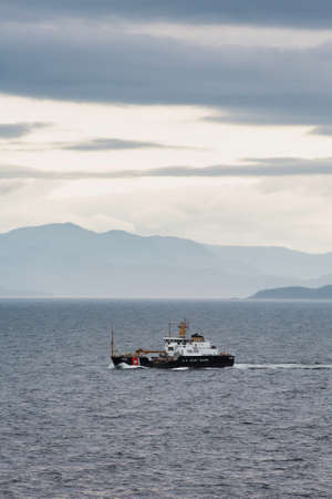 coast guard: United States Coast Guard buoy tender in the Alaskan Inner Passage Stock Photo