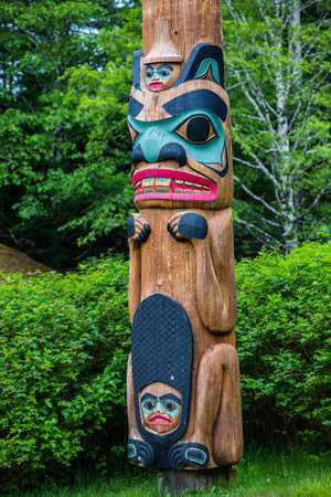 tlingit: Beaver totem pole at Saxman Village tribal house near Ketchikan Alaska