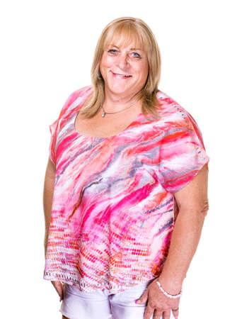 tie dye: Smiling transgender woman in tie dye shirt on white background