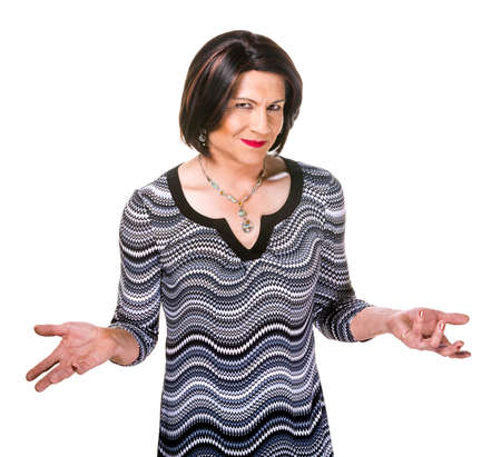 transgender: Happy Hispanic transgender woman with hands outstretched on white background