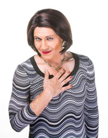 trans gender: Grinning Hispanic transgender woman on white background
