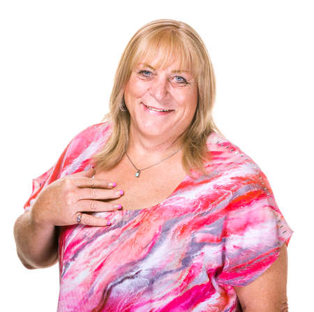 large woman: Close up on happy transgender woman over white background Stock Photo