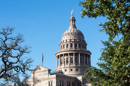 Texas Capitol dome in Austin with foreground trees Stock Photo